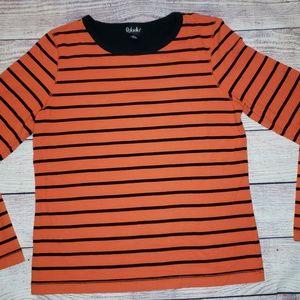 Rafaella womens black and orange striped sweater